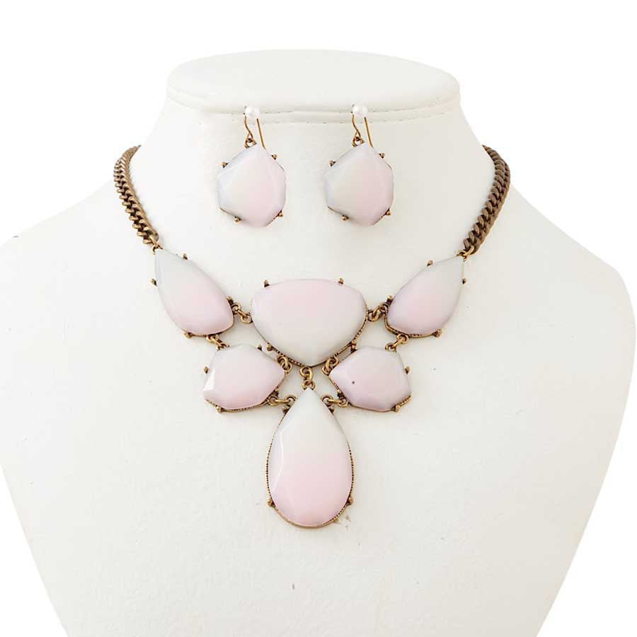 Antique Bronze & Soft Pink Crystal Bib Necklace & Earrings Set