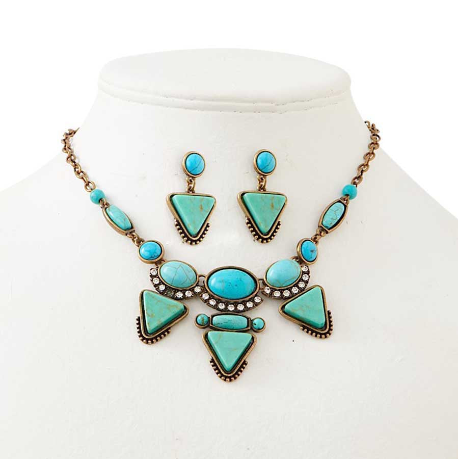 Antique Bronze & Two Tone Turquoise Necklace & Earrings Set