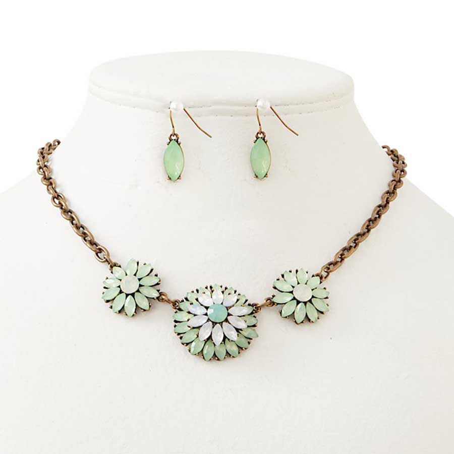 Antique Bronze & Green Crystal Necklace & Earrings Set