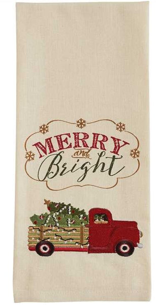 Merry And Bright Truck Embroidered Dishtowel