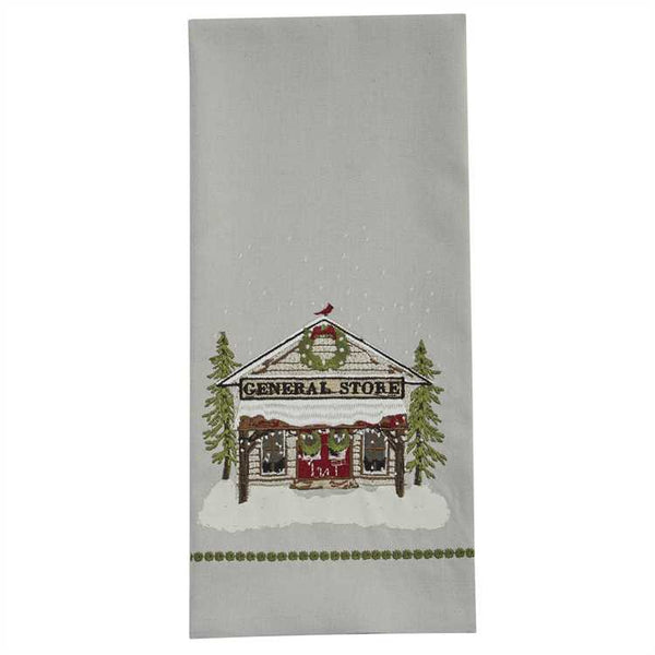 General Store Printed Embroidered Dish Towel