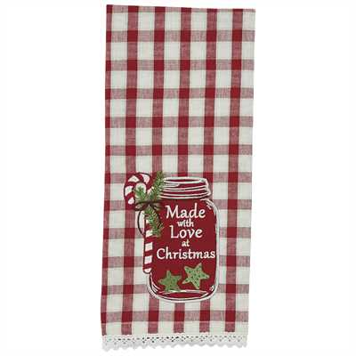 Made with Love Applique Dishtowel