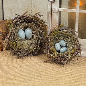 Set of 2 Nests with Blue Eggs