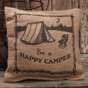 Small Burlap Happy Camper Pillow