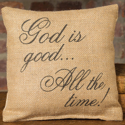 Small Burlap God is Good Pillow