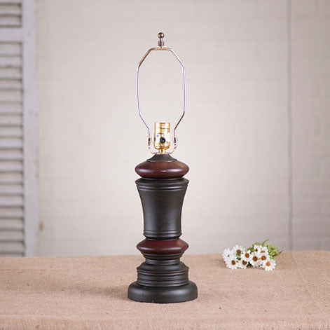 Peppermill Lamp Base - Sturbridge Black with Red