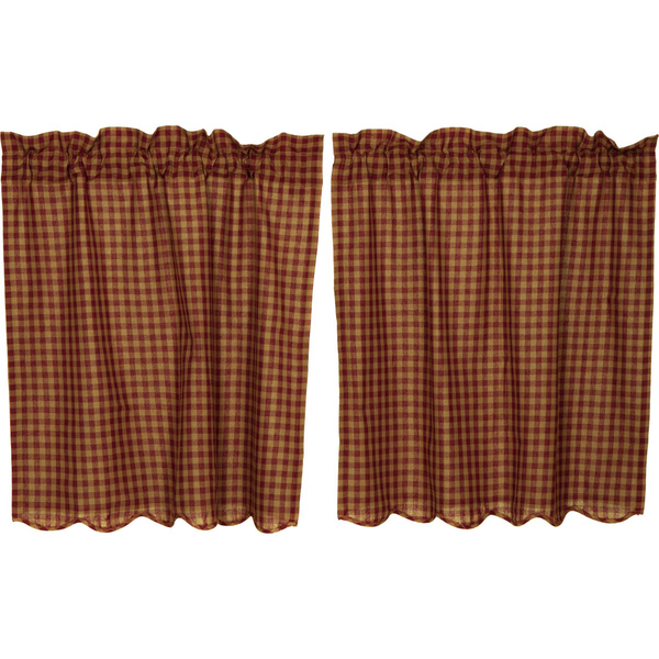 Burgundy Check Scalloped Tier Curtain Set Of 2