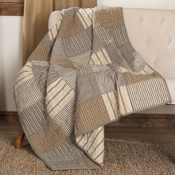 Sawyer Mill Charcoal Block Quilted Throw 60 X 50