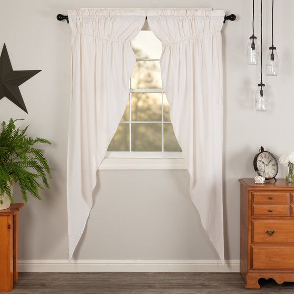 Simple Life Flax Antique White Prairie Long panel Curtain Set