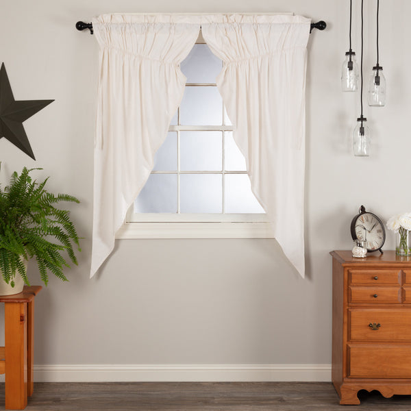 Simple Life Flax Antique White Prairie Short Panel Curtain Set