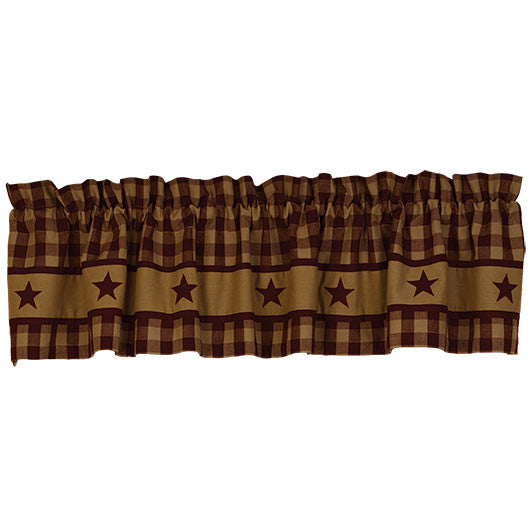 "Cranberry Country Star 72"" x 14"" Lined Valance"