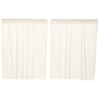 Tobacco Cloth Antique White Tier Curtain Fringed Set of  2 L36XW36