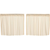 Tobacco Cloth Natural Tier Curtain Fringed Set of  2 L24XW36
