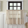 Tobacco Cloth Natural Tier Curtain Fringed Set of 2 L36XW36