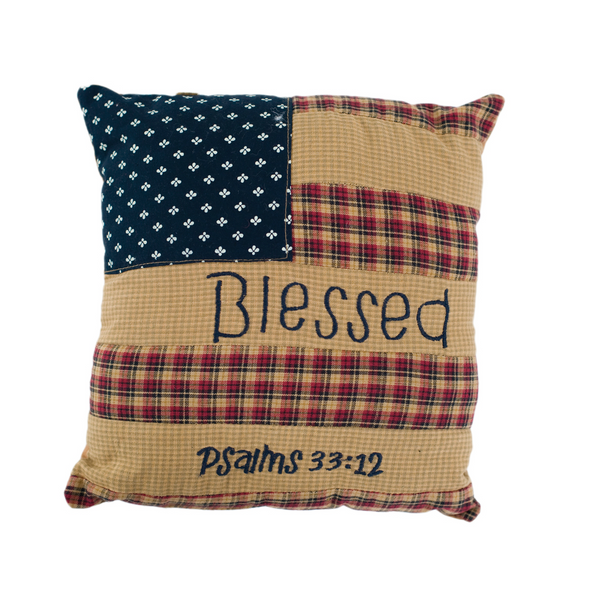 "Patriotic Patch 10"" x 10"" Blessed Pillow"