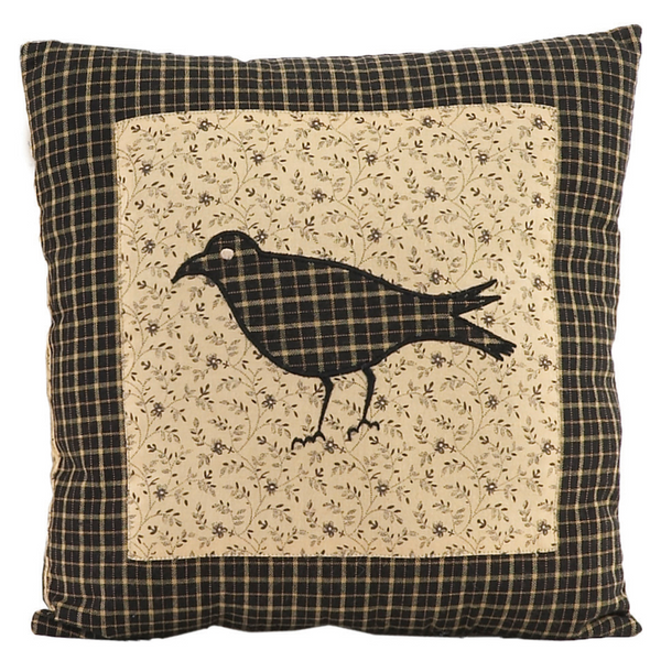 Kettle Grove Quilted Crow Pillow