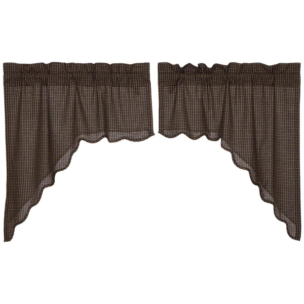 Kettle Grove Plaid Swag Curtain Scalloped Set Of 2
