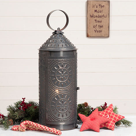 "18"" Chimney Lantern in Blackened Tin"