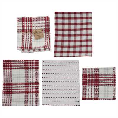 Peppermint Plaid 3 Dishtowel/1 Dishcloth Set