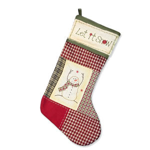 "Primitive Snowman Stocking (20"")"