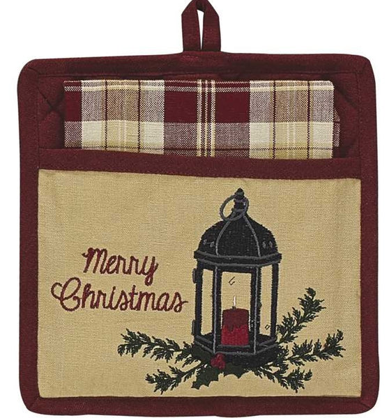 Christmas Lantern Pocket Potholder Set