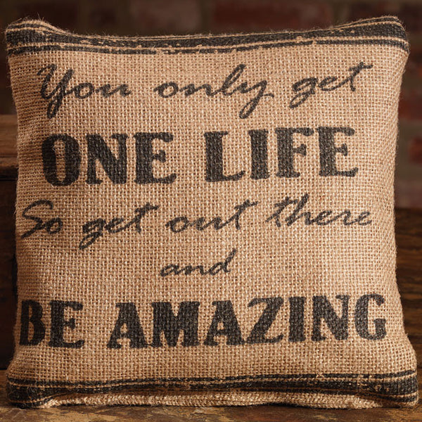 Small Burlap One Life Pillow