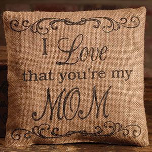 Small Burlap Love/Mom Pillow