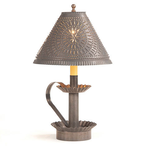 Plantation Candlestick Lamp with Chisel Shade in Blackened Tin