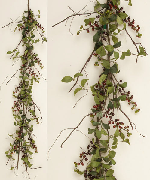 Garland - Herb Leaves with Burgundy Berries