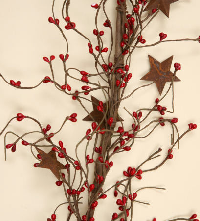 Garland - Red Seed Berries & Rusty Stars