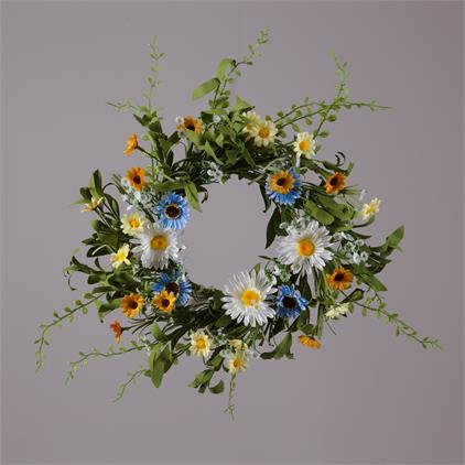 Wreath - Daisies Assorted Colors and Sizes, Foliage