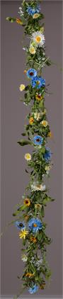 Garland - Daisies Assorted Colors and Sizes, Foliage