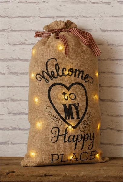Welcome To My Happy Place Burlap Sack
