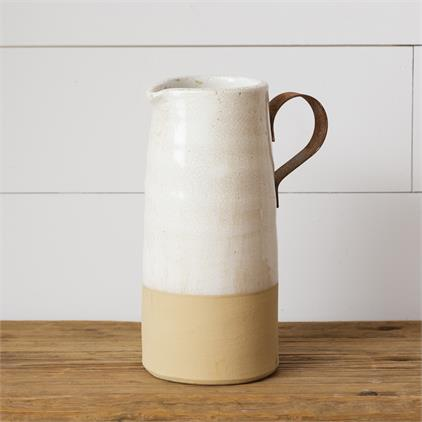 Pottery - Pitcher with Metal Handle