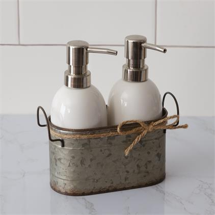 Soap Dispensers with Galvanized Caddy