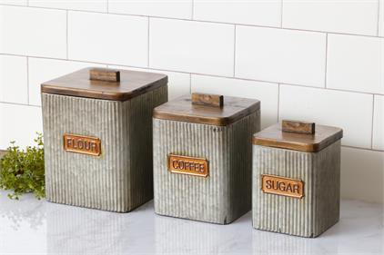 Galvanized Canisters With Wood Lids - Flour, Coffee, Sugar