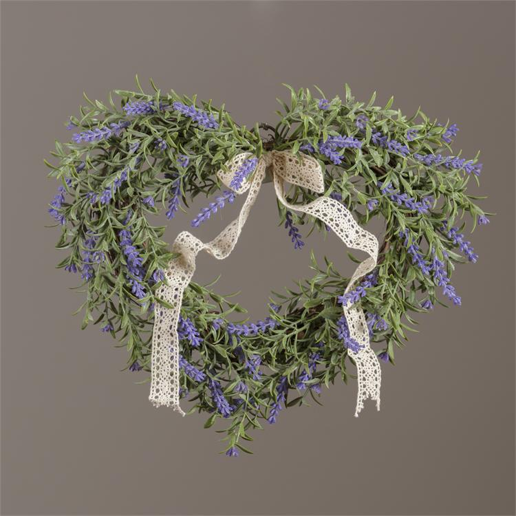 Wreath - Heart Shaped On Twig Base - Lavender