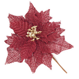 Vintage Red Burlap Poinsettia