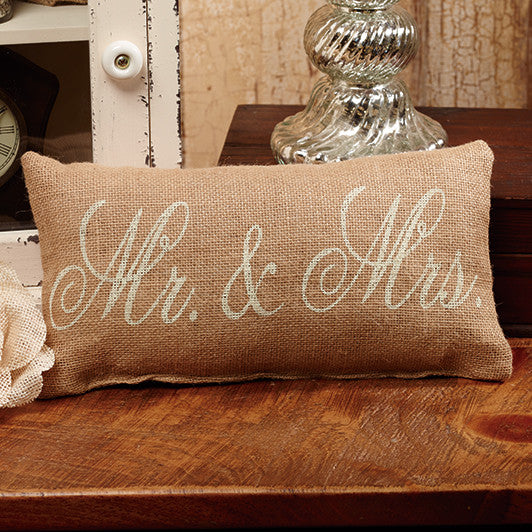 Small Burlap Mr. & Mrs. Pillow