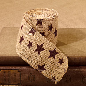 10 foot Burgundy Star Burlap Ribbon