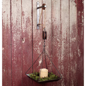 Vintage Pulley w/Hanging Tray