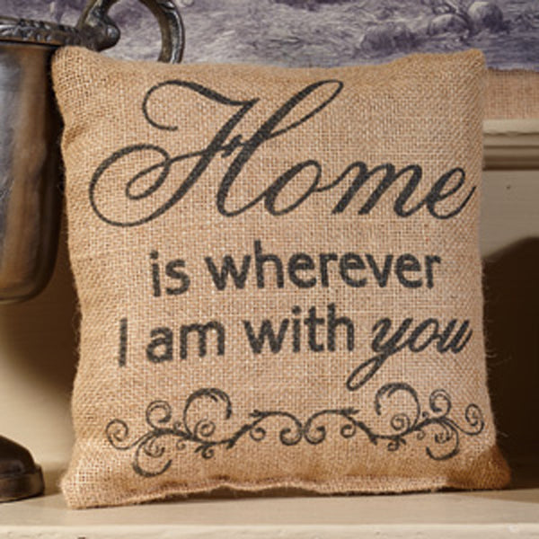 Small Burlap Home Pillow