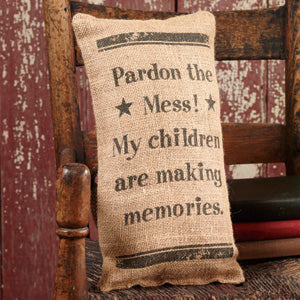 Small Burlap Making Memories Pillow