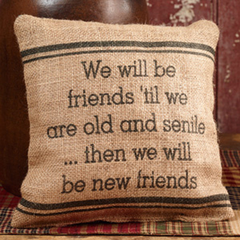 Small burlap friends pillow kc country home accents for The country house collection