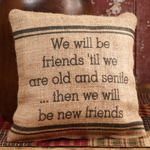 Small Burlap Friends Pillow