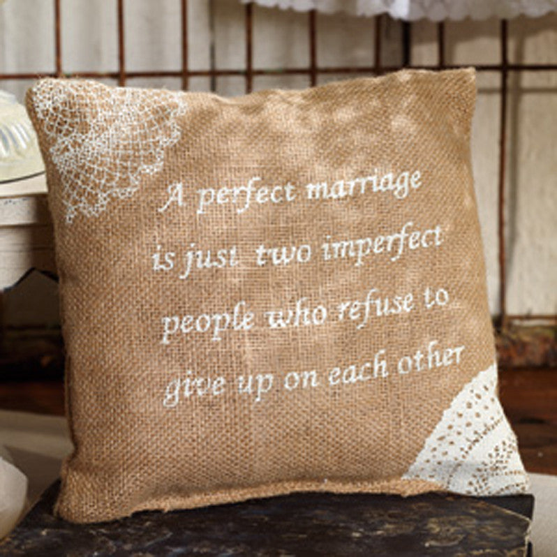 Small Burlap Marriage Pillow
