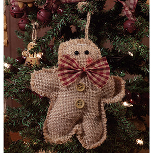 burlap gingerbread man ornament
