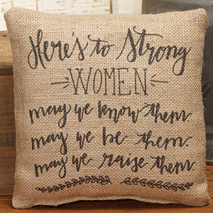 Small Burlap Strong Women Pillow
