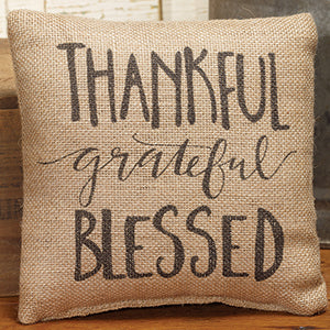 Small Burlap Thankful/Grateful Pillow