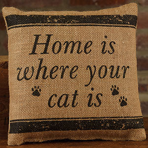Small Burlap Home/Cat Pillow